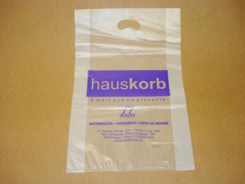 Qual o Valor Sacola Personalizada Plástico Bento Gonçalves - Sacola de Plástico Personalizada Alça Vazado