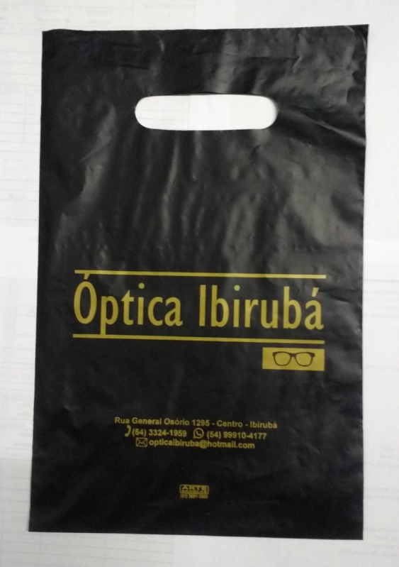 Sacola de Plástico Personalizada Alça Vazado Belo Horizonte - Sacola de Plástico Personalizada Alça Vazado