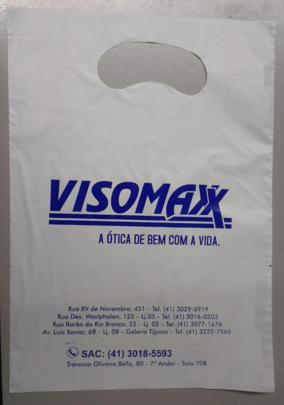 Sacolas de Plástico Personalizada Alça Vazado Mato Grosso - Sacola de Plástico Personalizada